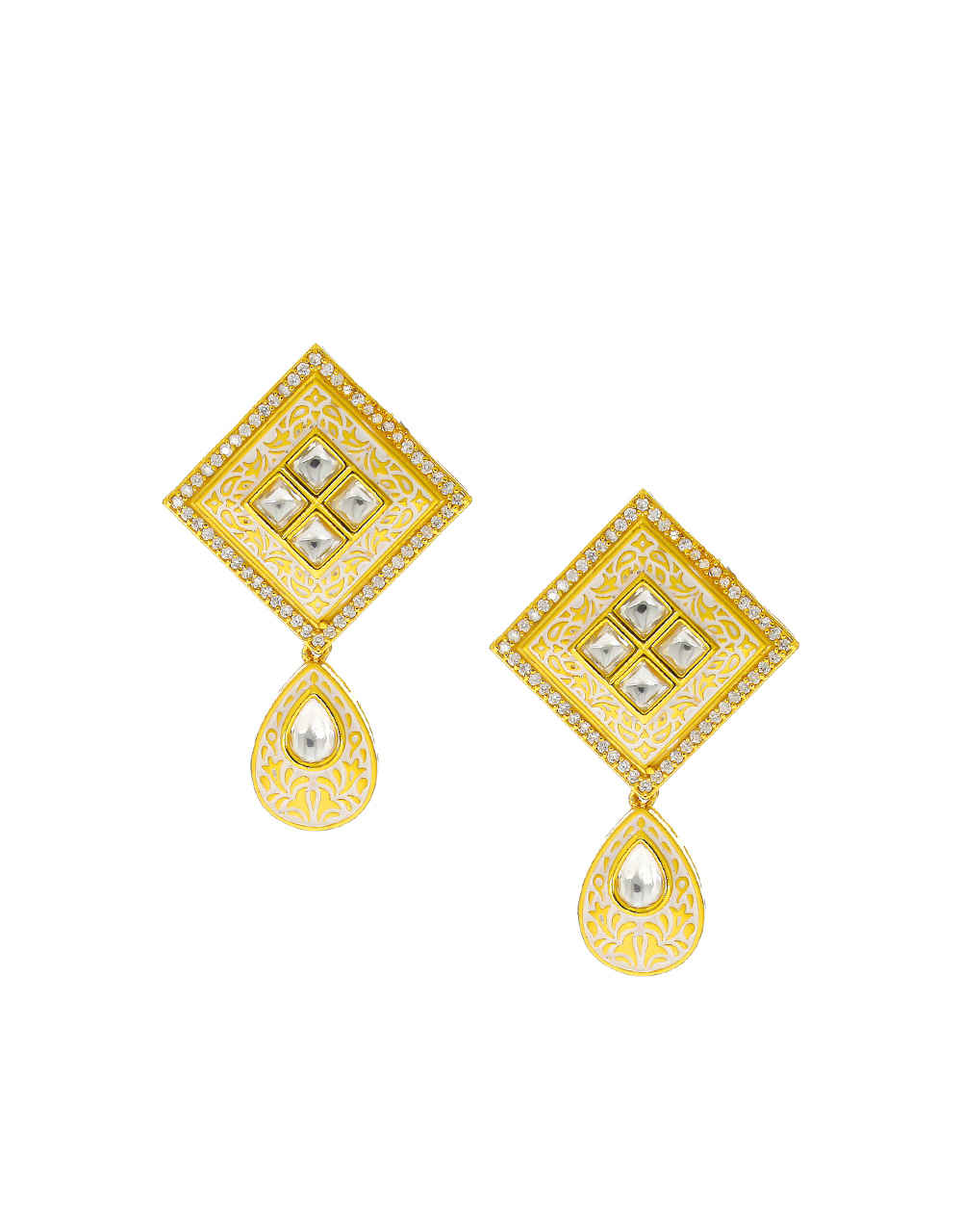 Gold Finish American Diamomd Kundan Pendant Set For Women
