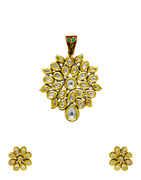 Adorable Gold Finish Fancy Kundan Pendant Set For Women