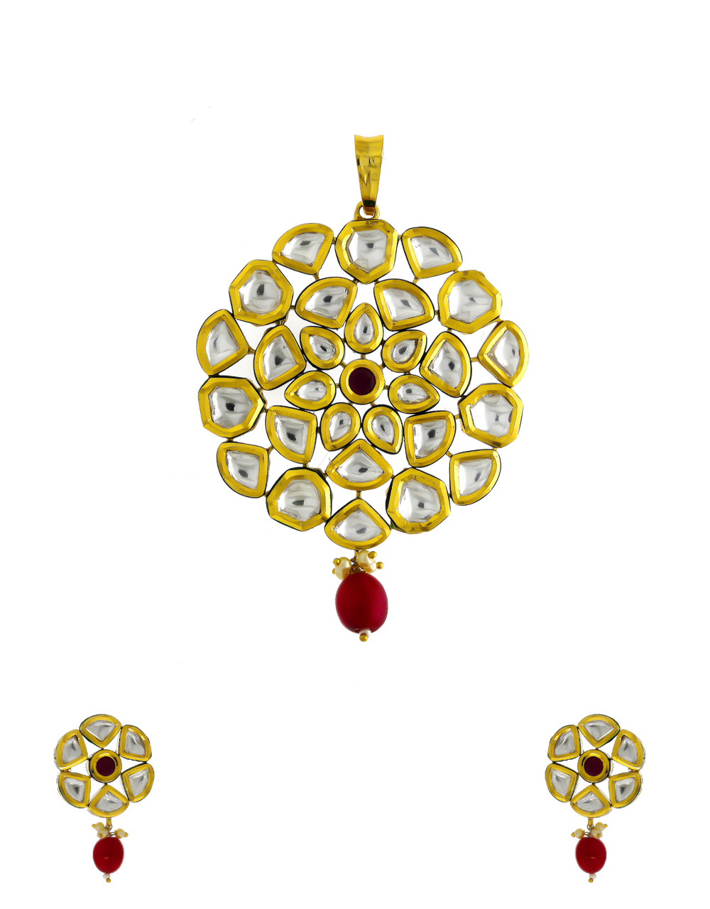 Red Colour Gold Finish Studded With Kundan Fancy Pendant Set