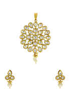 Floral Design Gold Finish Traditional Kundan Pendant Set For Women