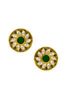 Green Colour Designer Gold Finish Pearls Styled Kundan Pendant Set