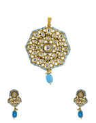 Turquise Colour Gold Finish Kundan Pendant Set For Women
