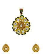 Designer Green Colour Gold Finish Kundan Pendant Set