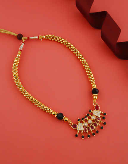 Pink Colour Gold Finish Styled With Black Beads Thushi Mangalsutra