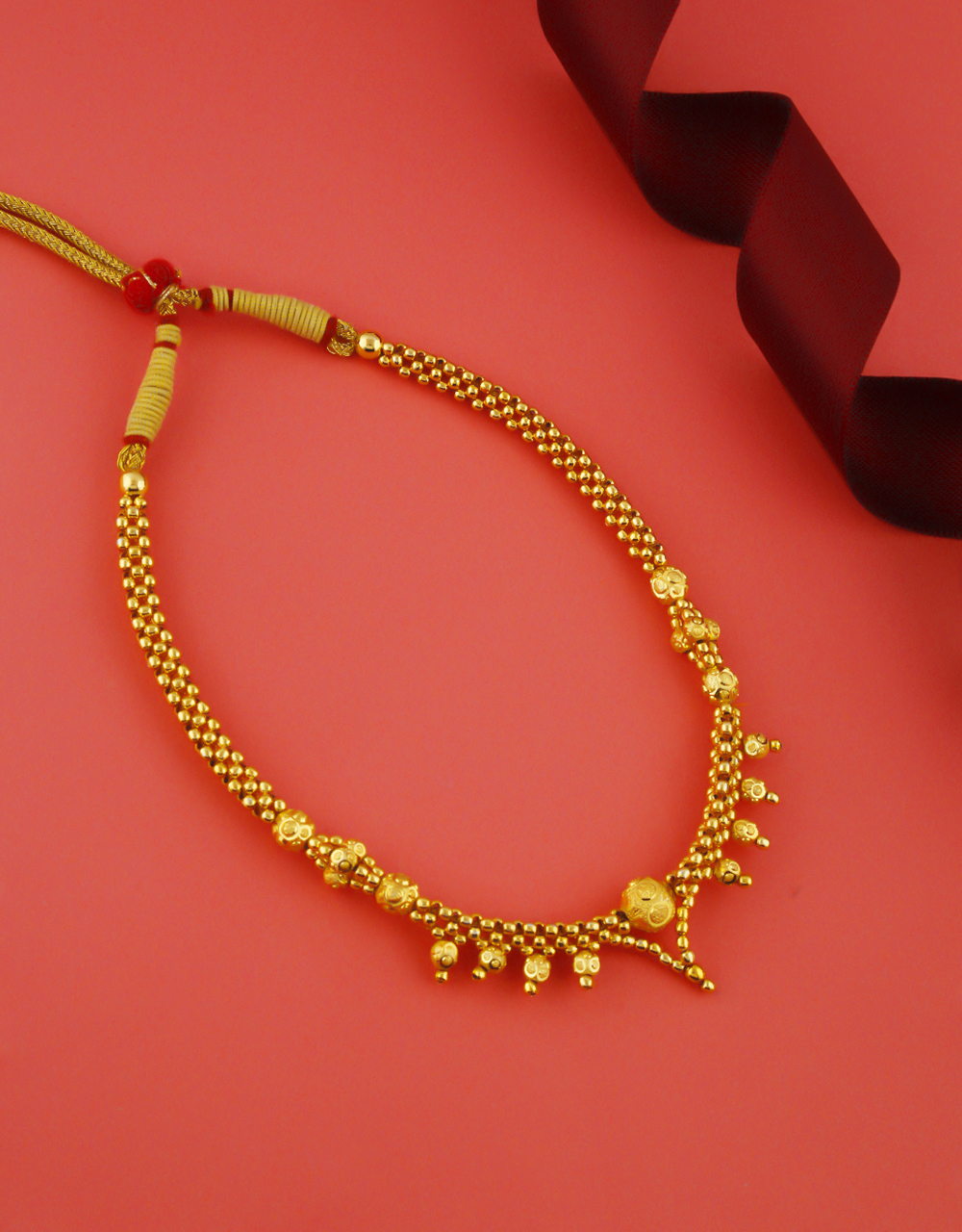 Gold Finish Simple Desiger Thushi Jewellery For Women