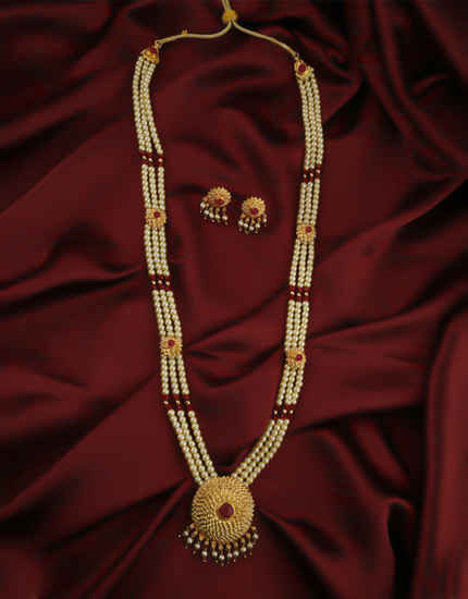 Red Colour Gold Finish Styled With Beads Moti Long Necklace For Wedding