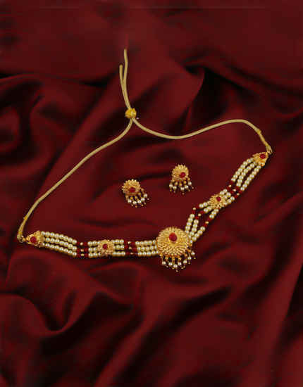 Red Colour Gold Finish Chokar Necklace For Women South Indian Jewellery
