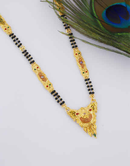 Traditional Gold Finish Fancy Long Mangalsutra For Women
