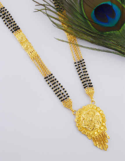 Gold Finish Designer Mangalsutra Styled With Black Beads Fancy Mangalsutra