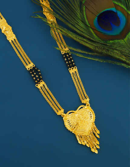 Fancy Gold Finish Mangalsutra Styled With Black Beads Mangalsutra For Wedding