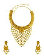Gold Finish Layered Maharashtrian Necklace Jewellery For Women