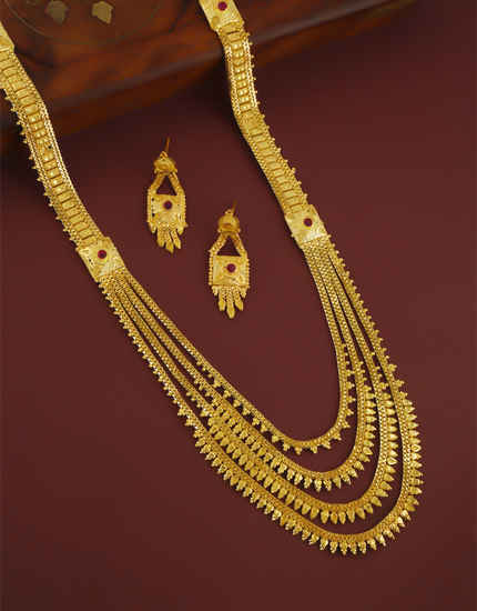 Pink Colour Gold Finish Designer Layered Maharashtrian Jewellery For Bride