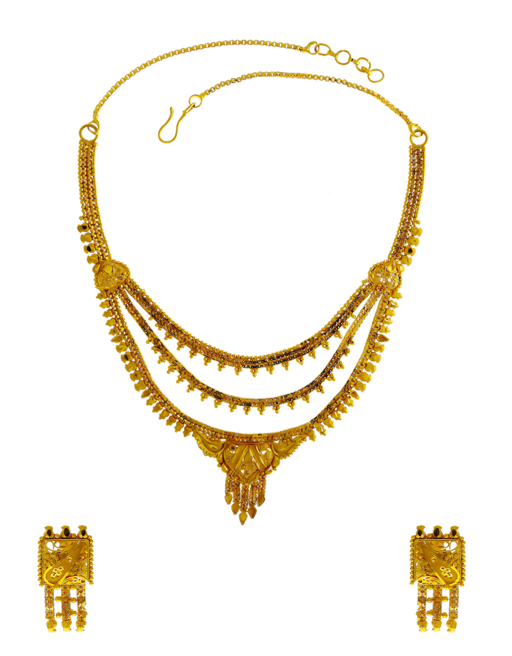 Simple Gold Finish Short Necklace For Wedding Wear Fancy