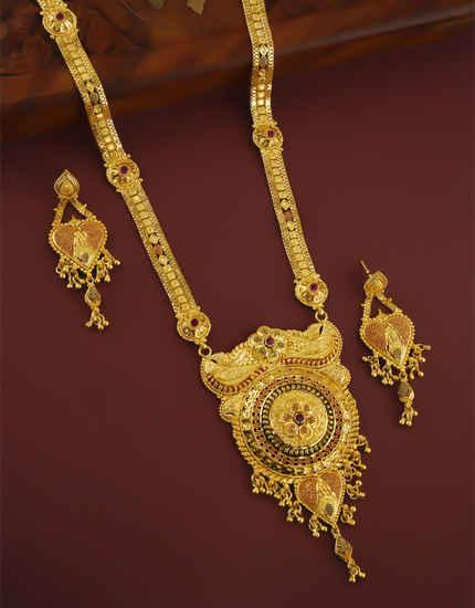 Adorable Gold Finish Mina Work Necklace Pendant Set Jewellery