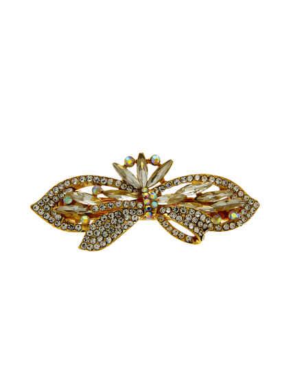 White Colour Gold Finish Stunning Hair Grip Pin For Women