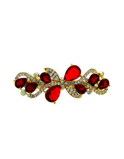 Red Colour Gold Finish Stylish Hair Backpin