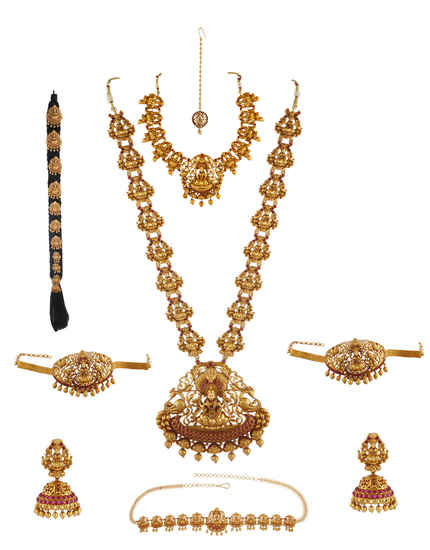 Pink Colour Temple Design Traditional Dulhan Jewellery For Wedding
