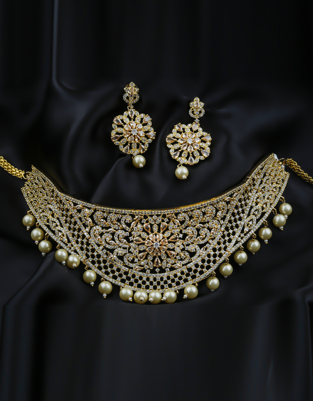 Very Classy Designer Gold Finish Party Wear American Diamond Necklace
