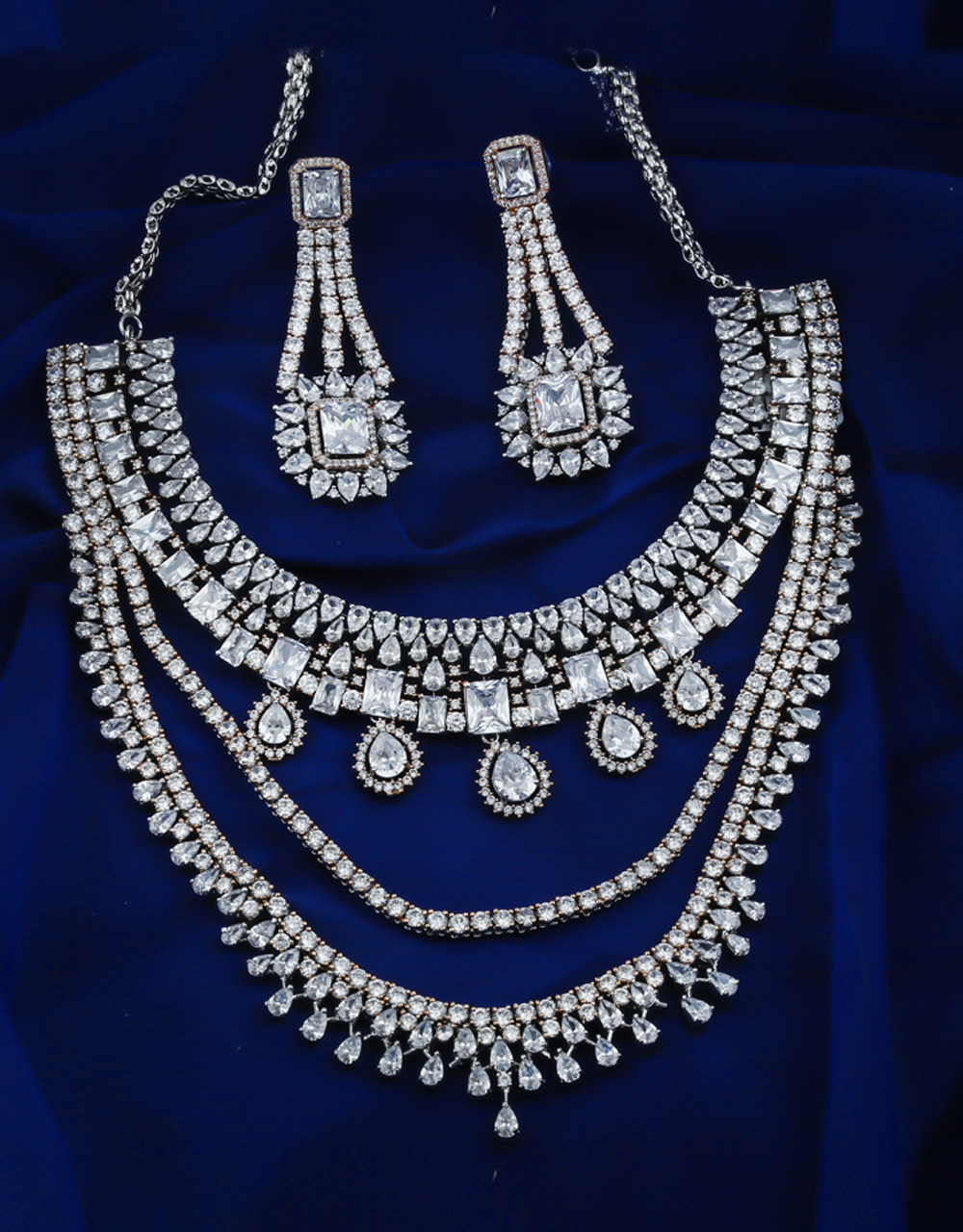 Adorable Silver Finish American Diamond Stunning Necklace For Girls