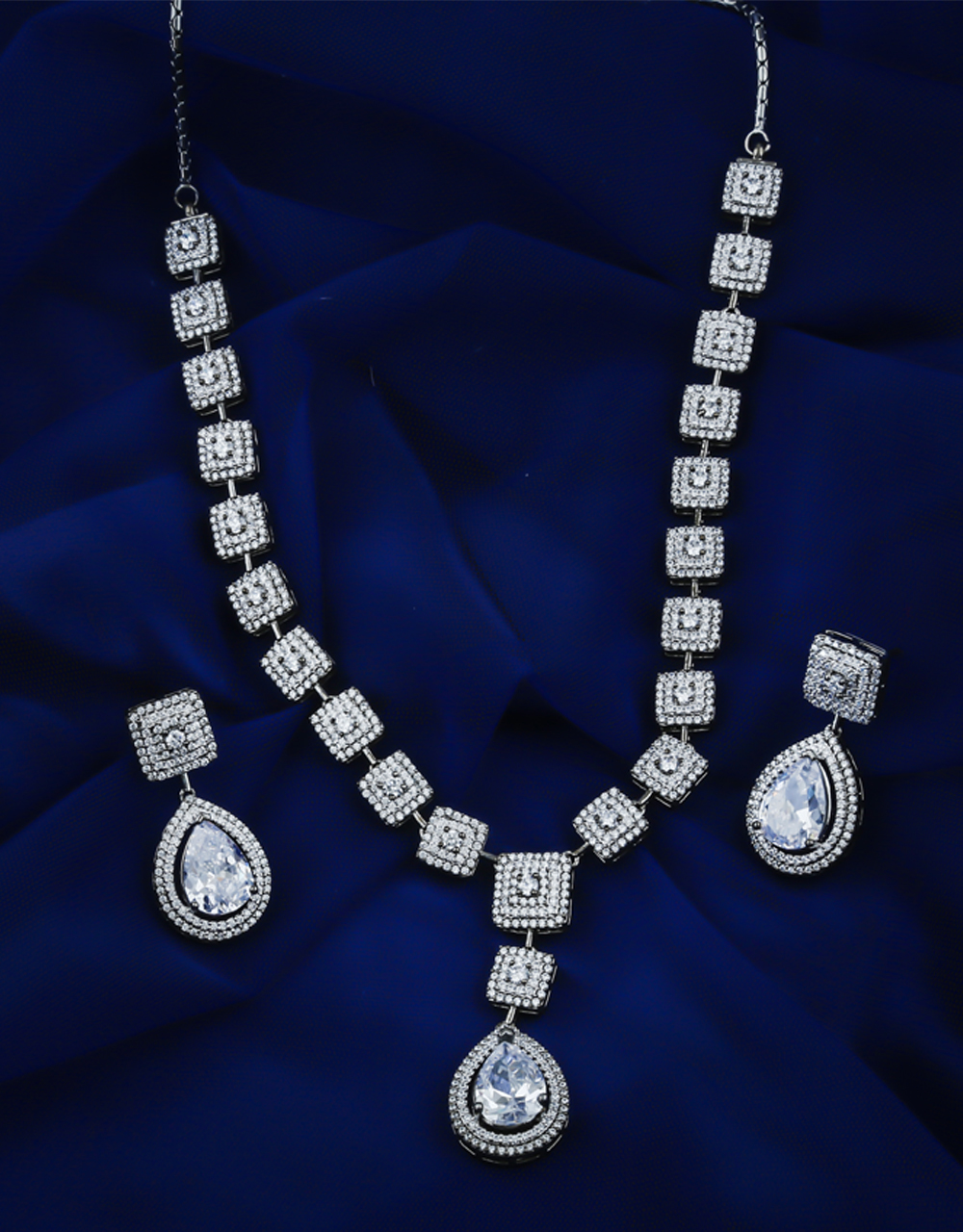 Silver Finish American Diamond Simple Necklace For Women