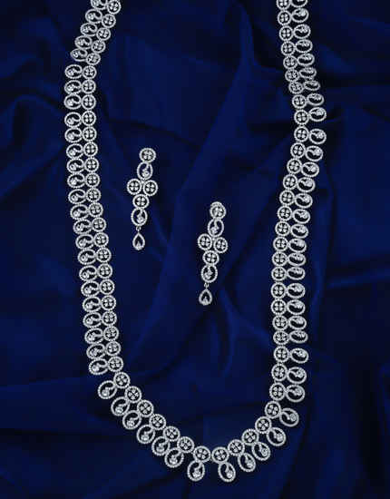 Silver Finish American Diamond Long Necklace For Party Wear