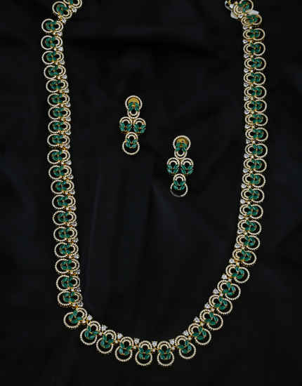 Green Colour Gold Finish Designer American Diamond Artificial Jewellery