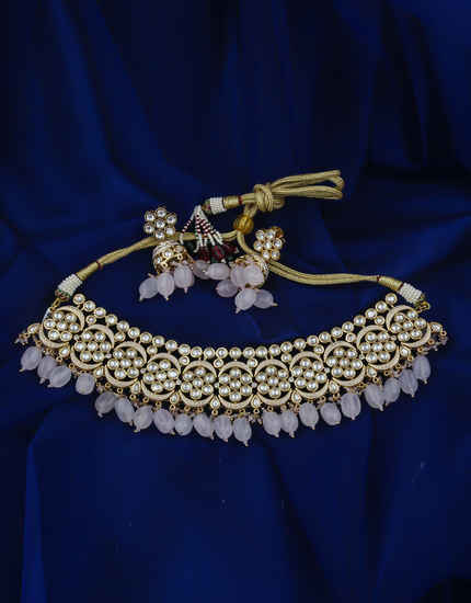 Gold Finish Necklace Studded With Kundan Wedding Necklace Jewellery