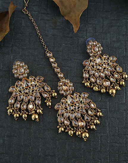 Gold Finish Fancy Earrings Studded With Stones Earrings