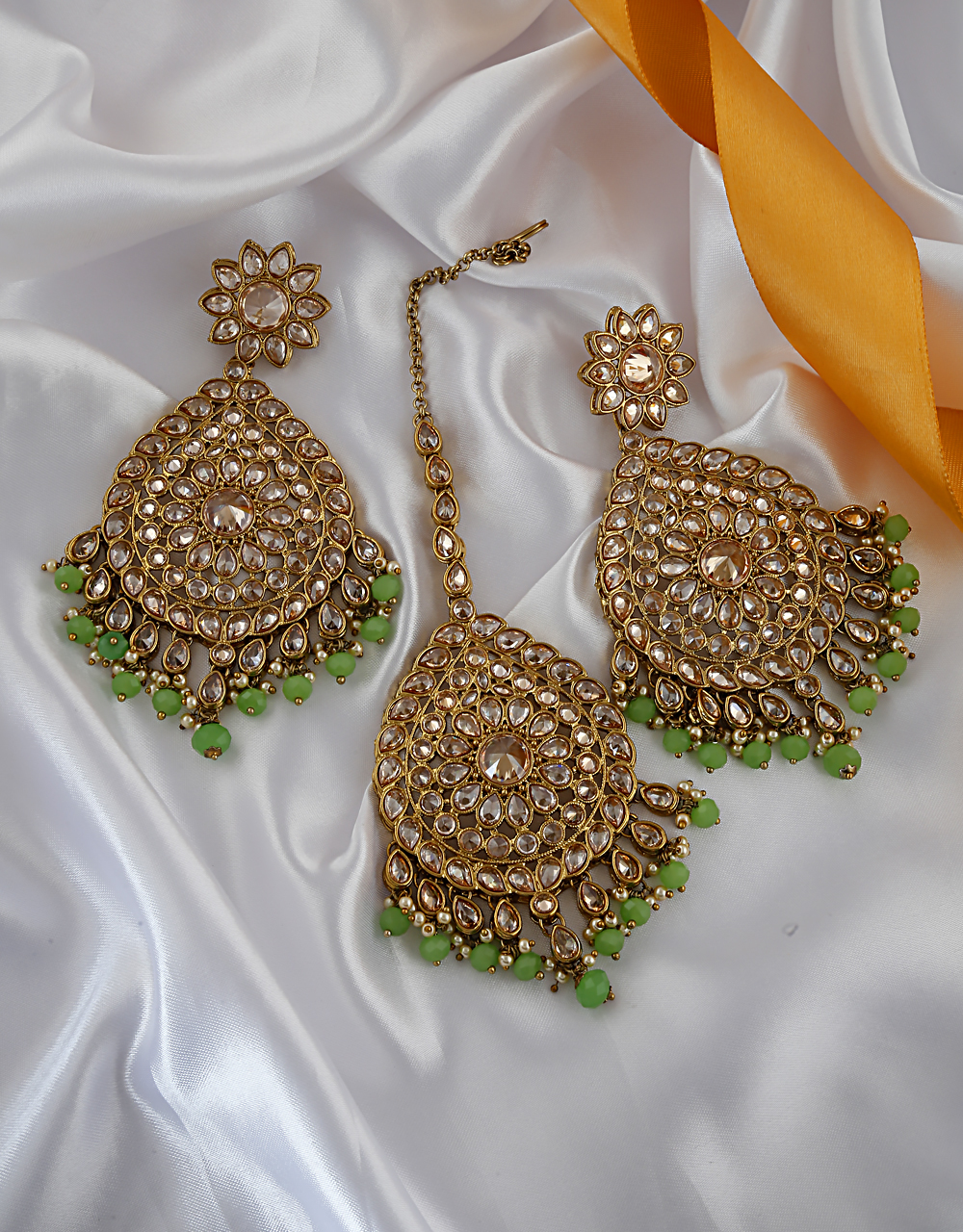 Green Colour Antique Gold Finish Styled With Beads Fancy Long Earrings