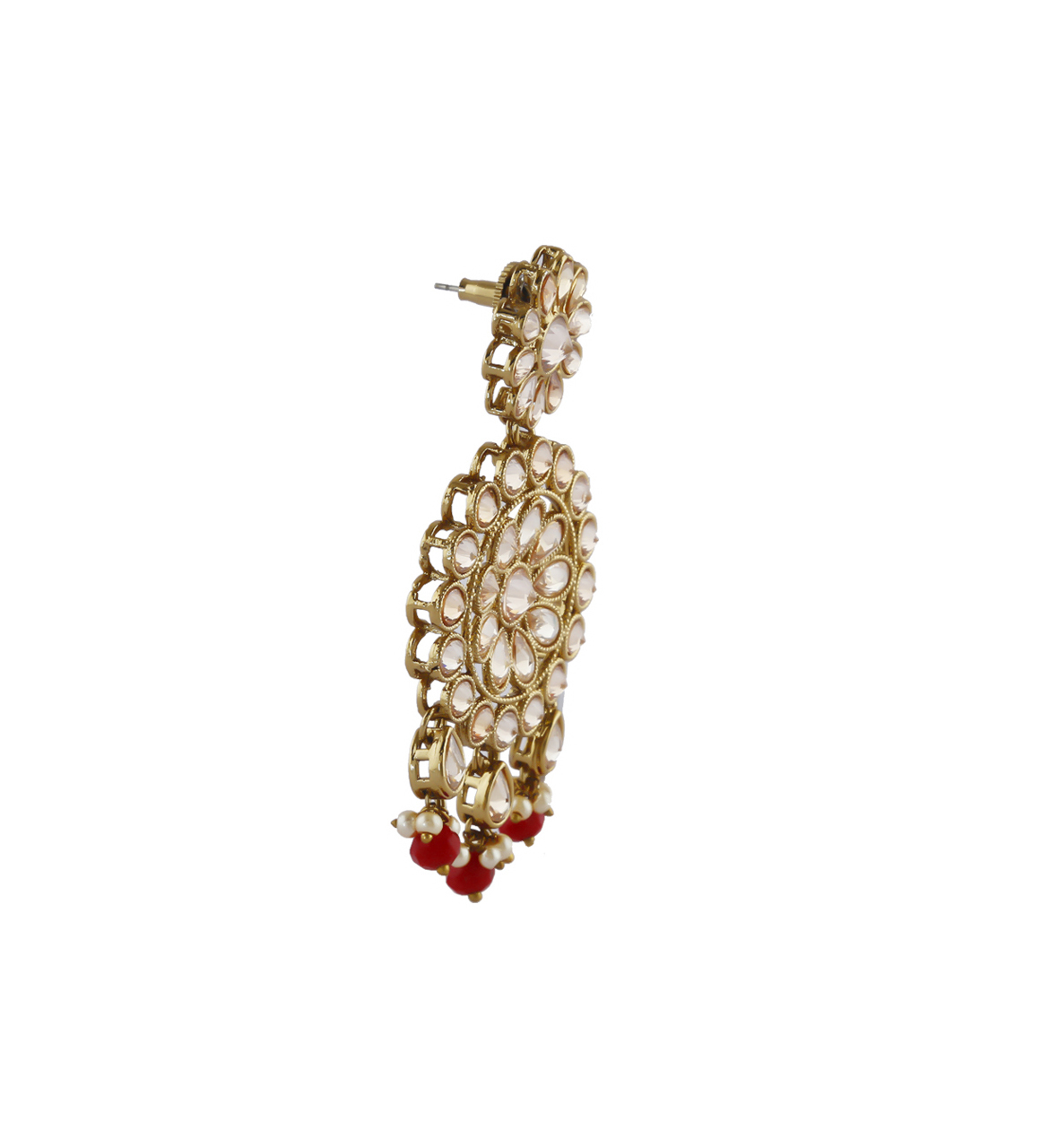 Red Colour Gold Finish Earring Styled With Beads Earrings Fancy