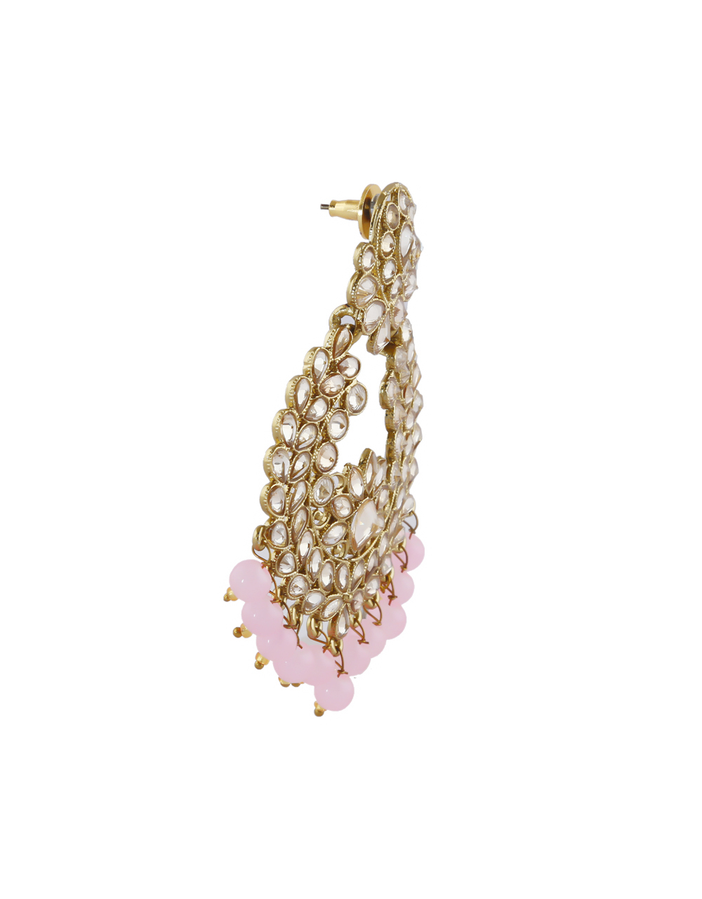 Pink Colour Antique Gold Finish Chandbali Earrings For Women
