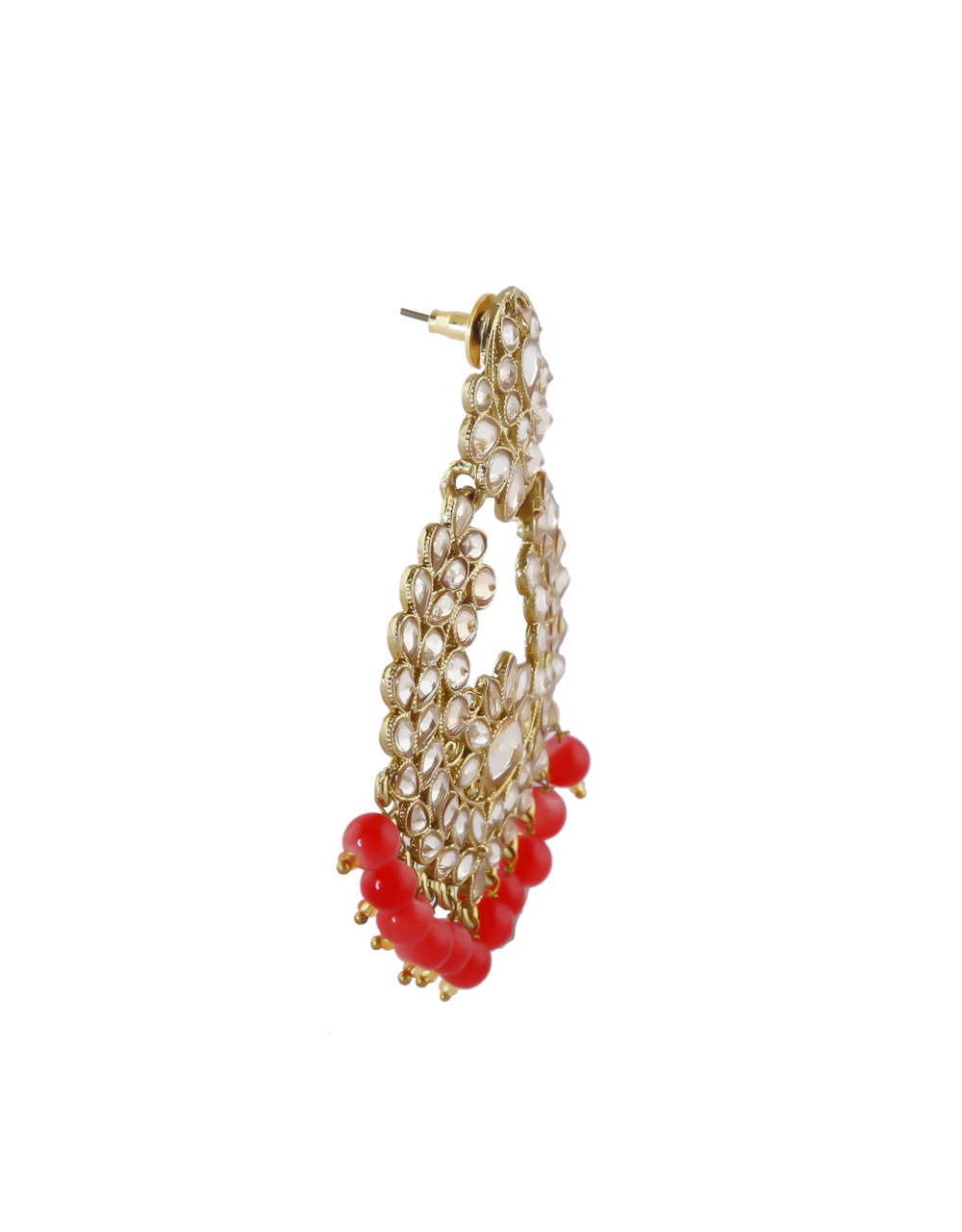 Stylish Red Colour Gold Finish Styled With Beads Chandbali Earrings