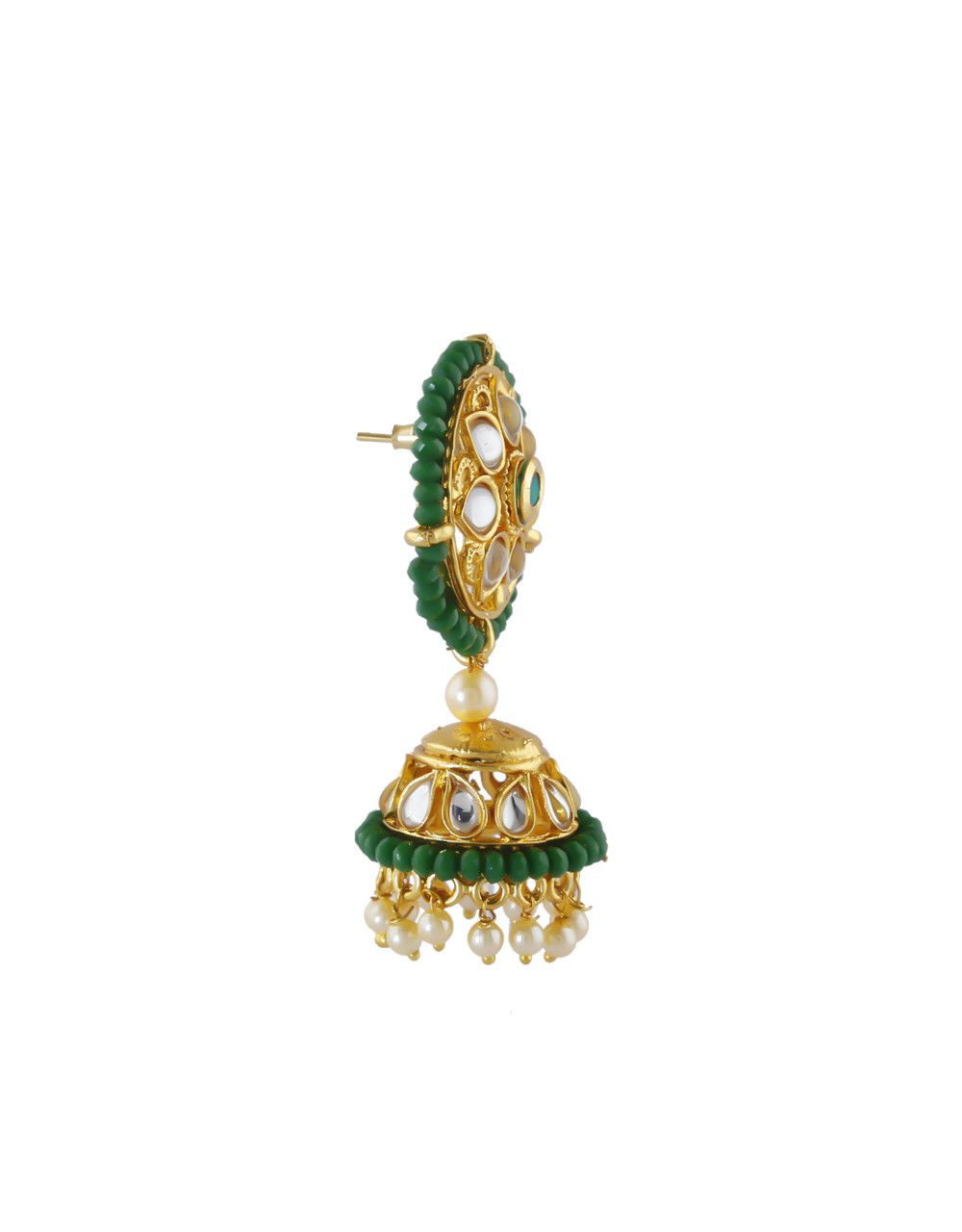 Green Colour Floral Design Traditional Jhoomkaa Earrings
