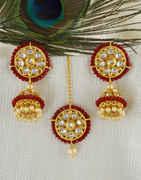 Red Colour Gold Finish Zumki Earrings For Women Fancy Wear