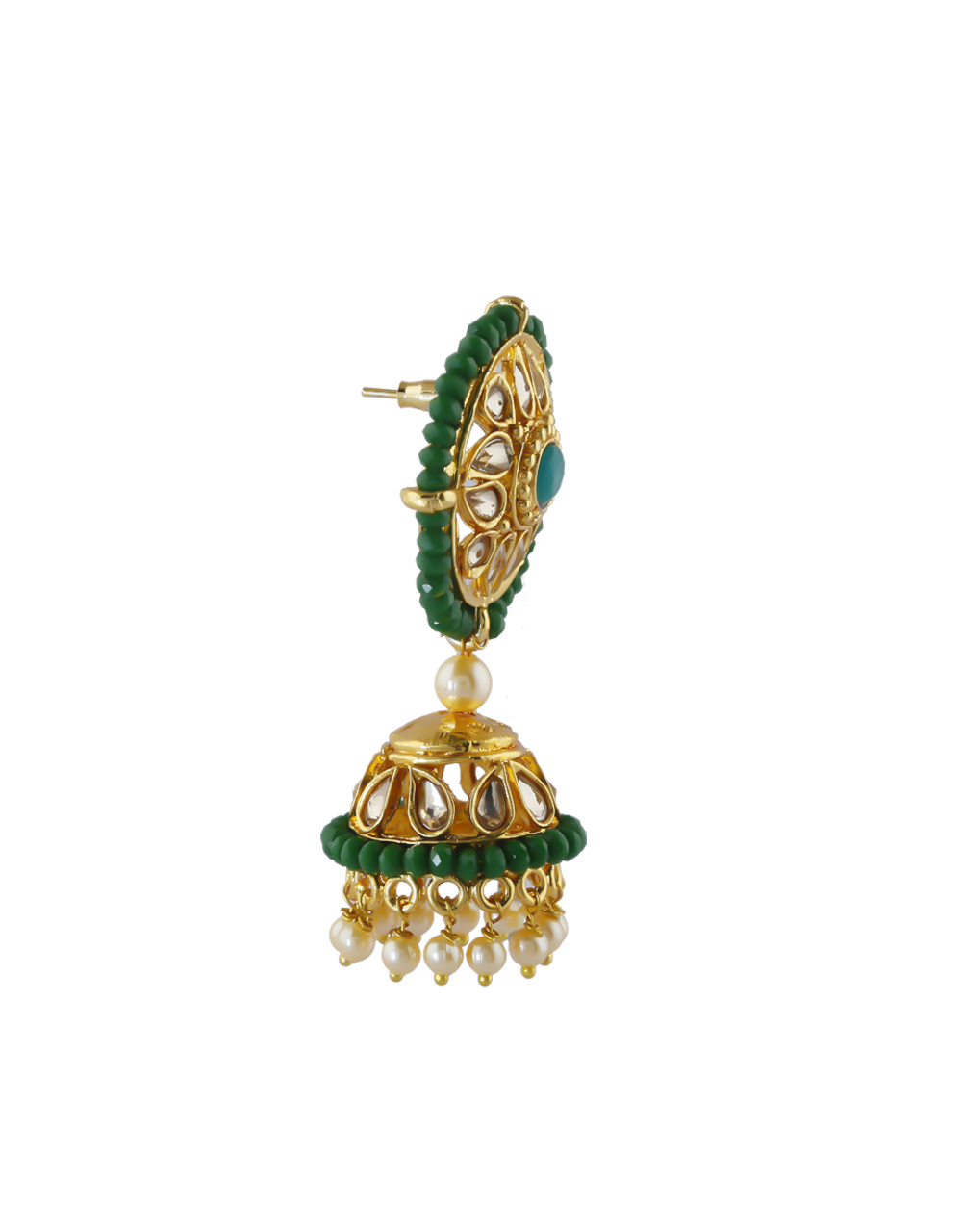 Green Colour Gold Finish Studded With Stoness Zumki Earrings