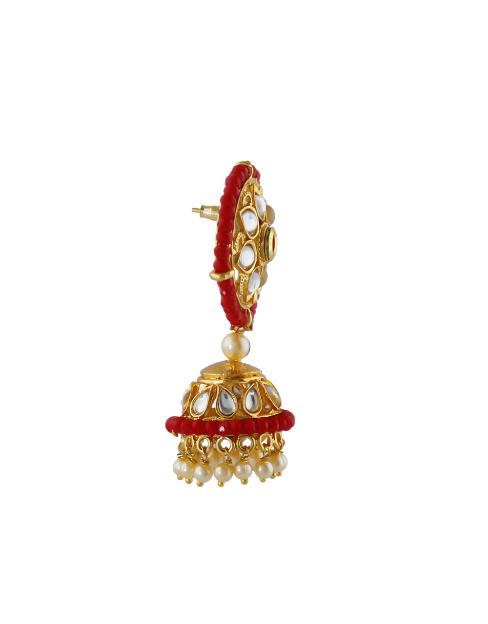 Red Colour Gold Finish Traditional Fancy Jhoomka Earrings