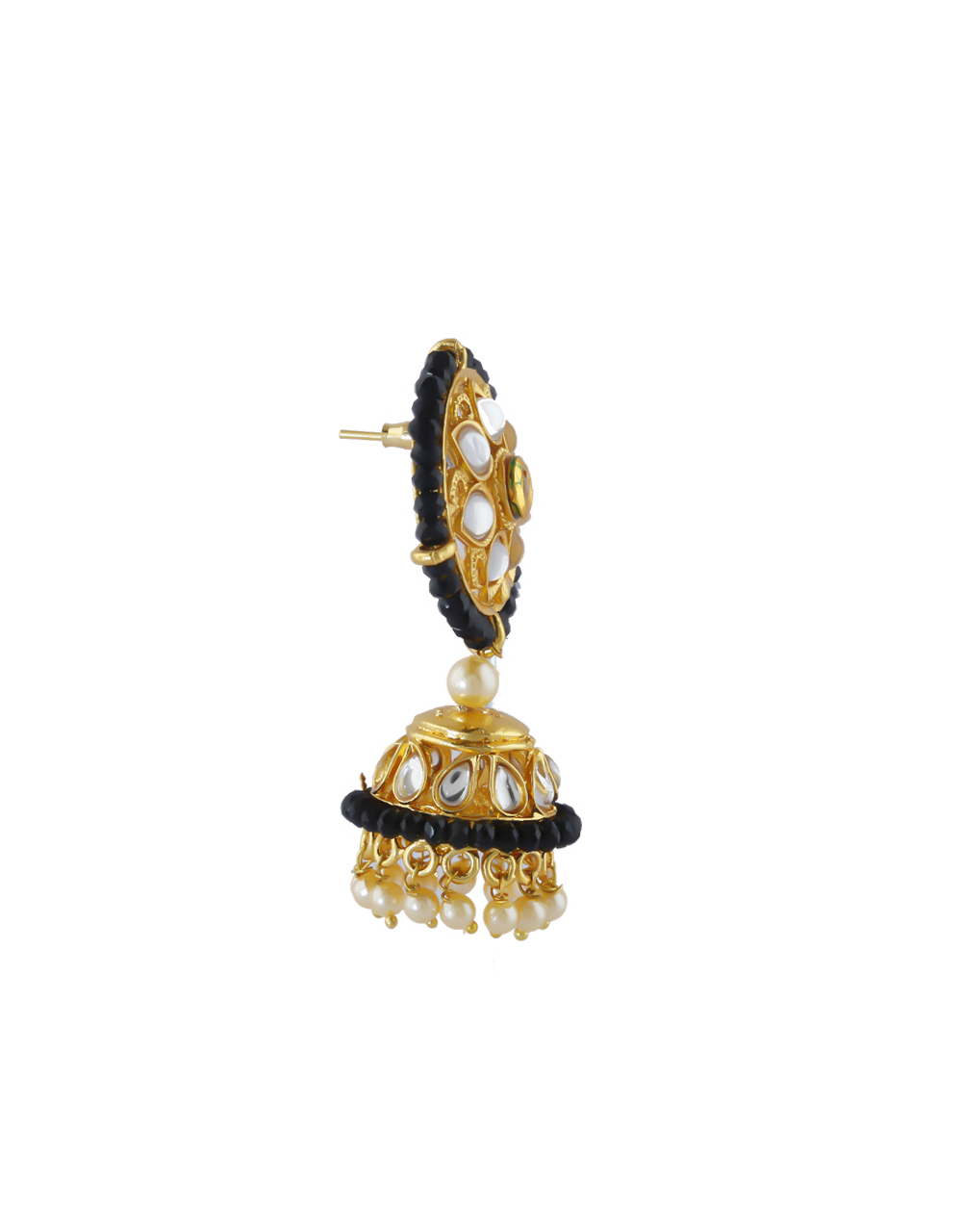 Black Colour Gold Finish Styled With Pearls Beads Zumki Earrings