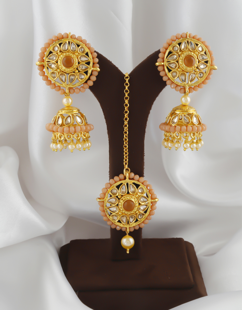 Designer Gold Finish Styled With Pearls Beads Fancy Jhoomkaa Earrings