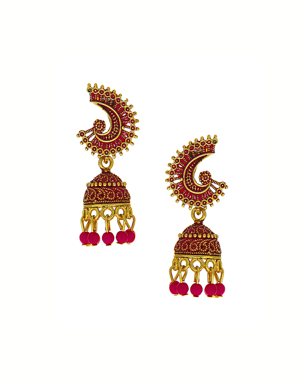 Pink Colour Gold Finish Styled With Beads Jhumki Earrings