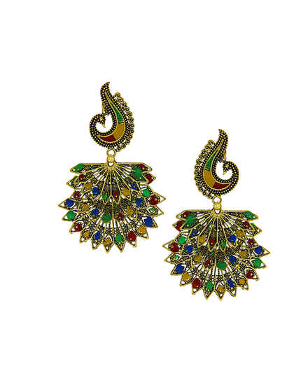 Antique Gold Finish Multi Colour Peacock Earrings
