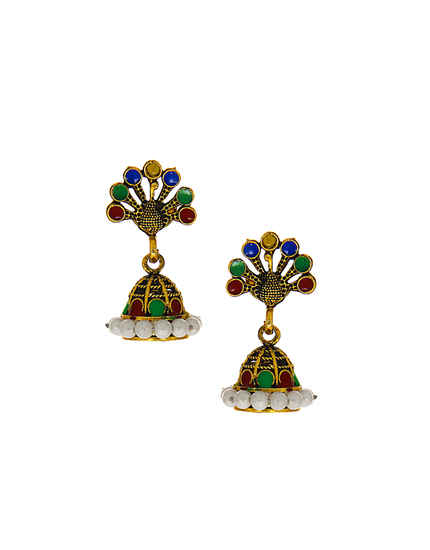 Fancy Antique Gold Finish Simple Jhumki For Women