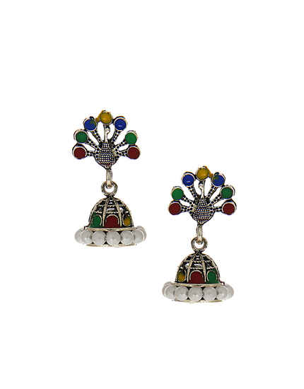 Silver Oxidized Finish Stylish Jhoomkaa Earrings For Girls