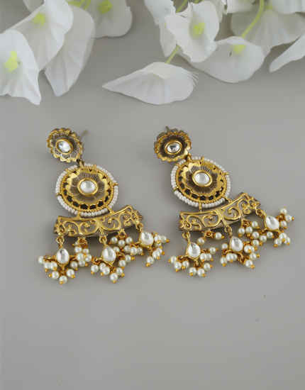 Gold Finish Styled With Pearls Beads Fancy Traditional Earrings