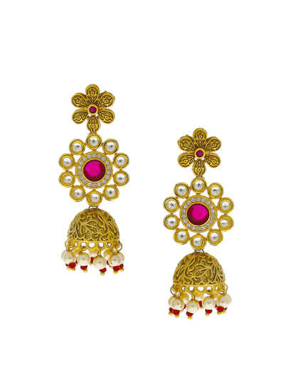 Pink Colour Gold Finish Studded With Kundan Earrings For Women