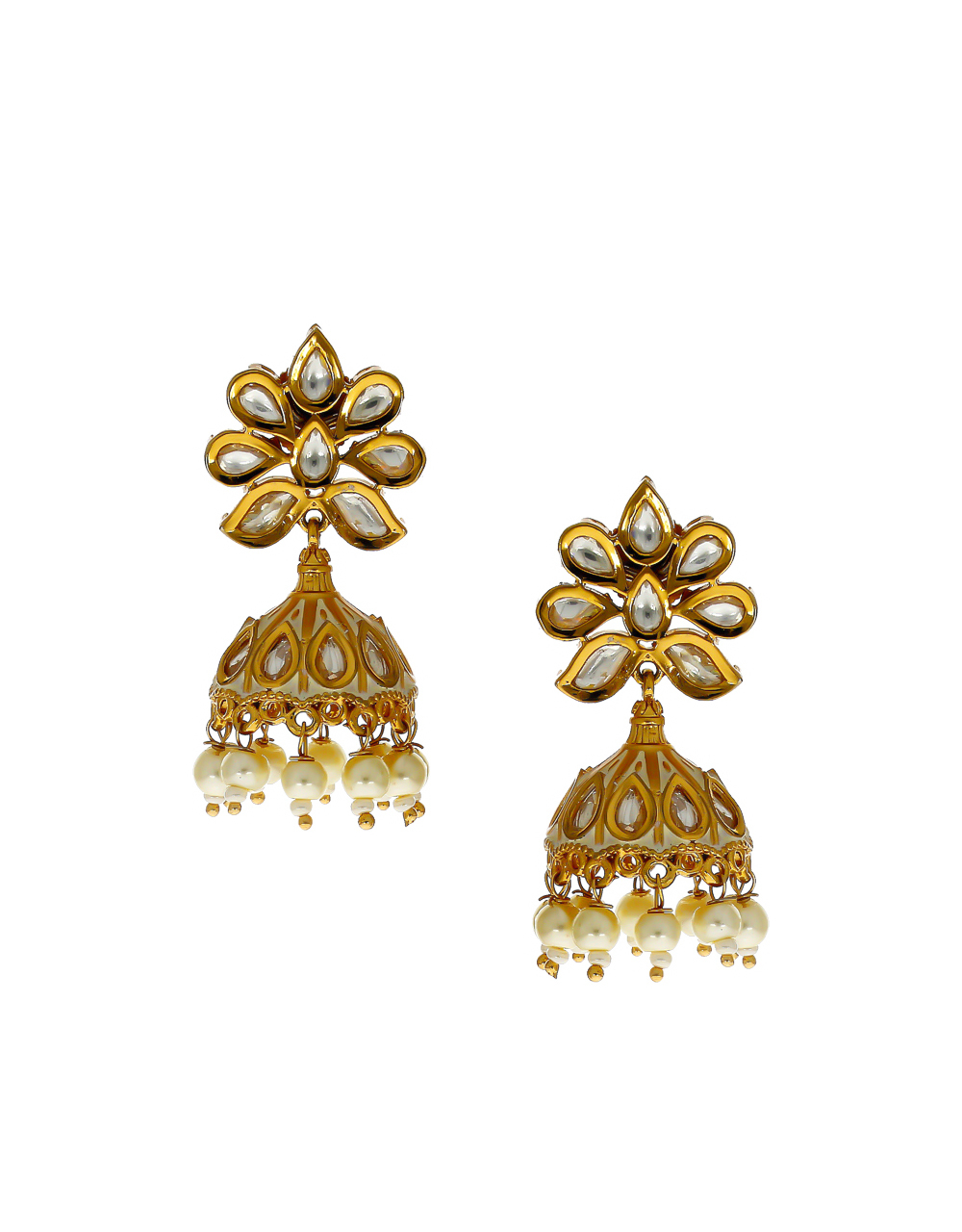 Rose Gold Finish Studded With Stones Styled With Pearls Beads Jhumki Earrings