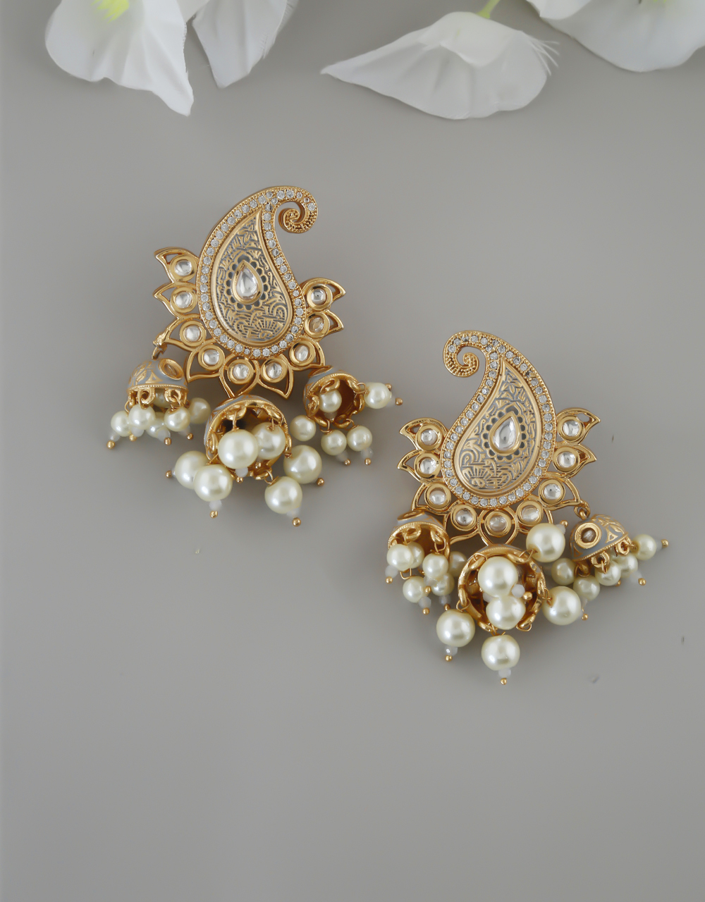 Grey Colour Gold Finish Styled With Pearl Beads Fancy Kundan Earrings