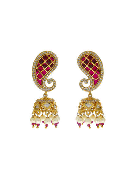 Pink Colour Gold Finish Studded With American Diamond Styled With Pearls Beads Fancy Earrings