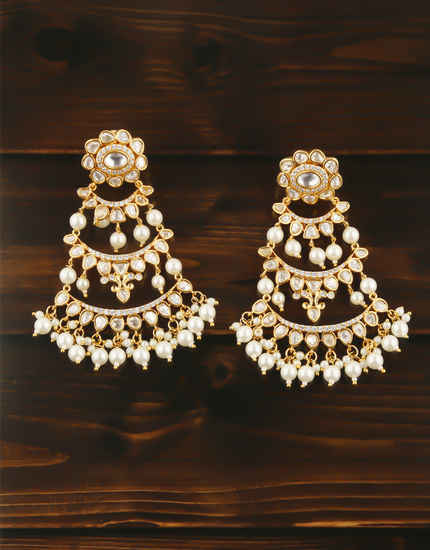 Gold Finish Earring Studded With Kundan Stones Earrings
