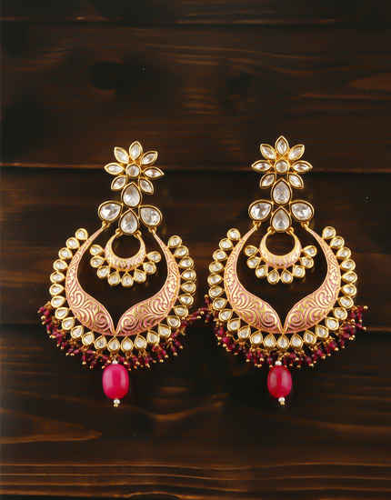 Red Colour Gold Finish Studded With Kundan Earrings
