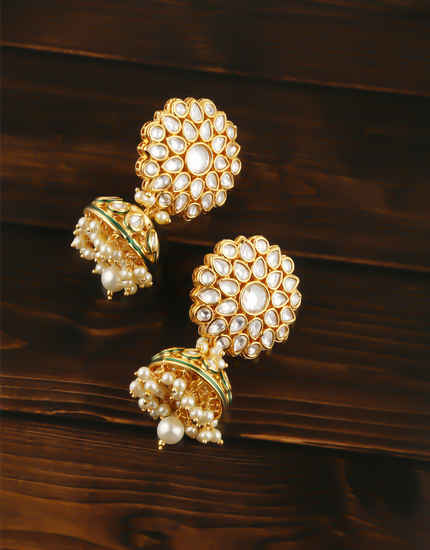 Gold Finish Styled With Pearls Beads Zumki Earring For Women